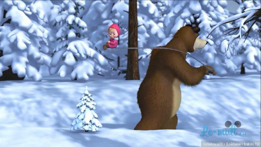 поговорим картинка с маши и медведь зимой спит площадки площадки