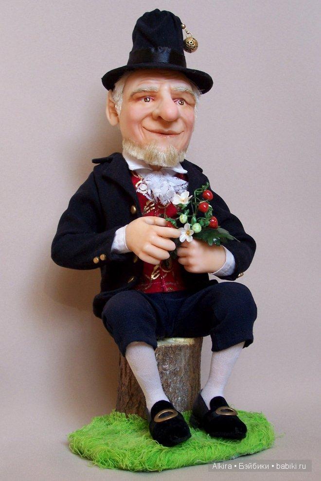Автор: Алла Киреня. Кукла изготовлена из цернтита, волосы, борода и брови из льна. Размер - 32 см.