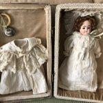 Антикварная двухлицая  кукла в чемоданчике, РАССРОЧКА
