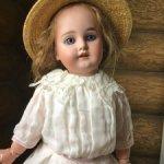 Летнее платье для антикварной куклы 45 см.