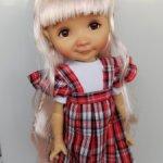"""Парик 8-9"""" - Хвостики волнистые с косичкой - нежно-розовый. Подходят Meadow dolls 28 см"""