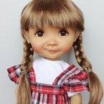 """Парик 7-8"""" - Косы длинные - золотисто-коричневый. Подходит Meadow dolls 28 см."""