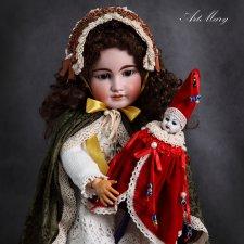 Куклы-marotte на основе антикварных головок Merry Christmas