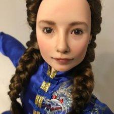 Портретная девочка в образе борца ушу. Авторская кукла Елены Бурыгиной