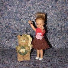 Авторское вязаное платье на кукол Паола Рейна мини - 21 см (Paola Reina mini - 21 cm)