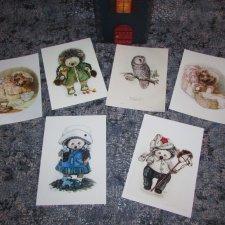 Ёжики и Совы - моя коллекция открыток