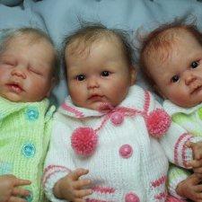 Тройняшки: Мara, Мira и Mina. Мини-реборн от Didy Jacobsen