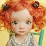 Рыжая кудряшка Лея, авторская шарнирная кукла из полиуретана