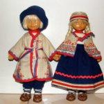 Пара советских кукол в латвийскиом народном костюме ф-ки Ленигрушка