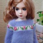 Вязаное платье и джемпер для Розы Dollshe. Бесплатная доставка!