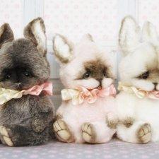 Летние зайчата, игрушки  ручной работы