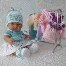 Вязаная одежда для куклы - пупса 26 см