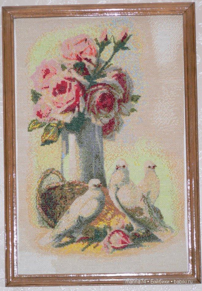букет роз и голуби