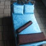 """""""Бирюза и Темный Шоколад""""- кровать и банкетка.Для кукол от 12 до 17 см"""