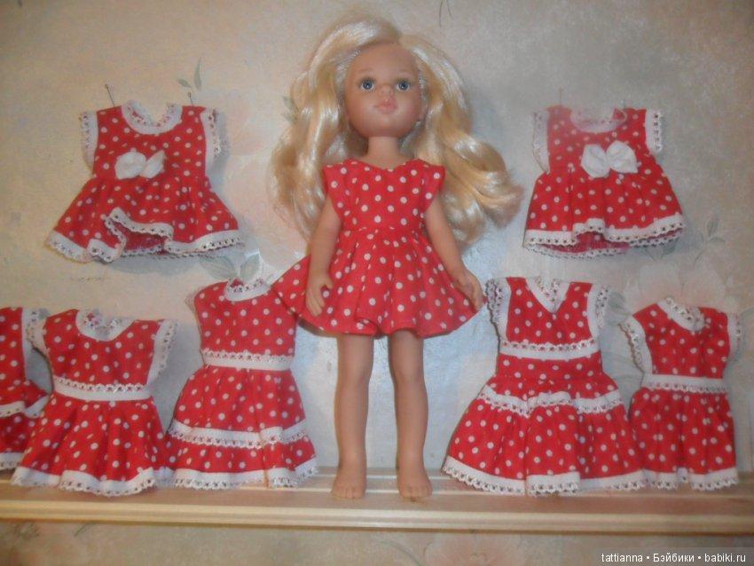 Платье для куклы Горошек на красном фоне