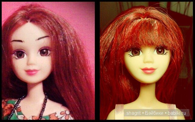 голова кукла Abbie, тело от  куклы Barbie Mattel, красивые красноватые волосы, челка
