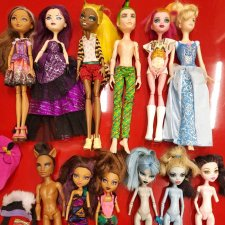 Лот 12 кукол monster high, ever after high и золушка от hasbro
