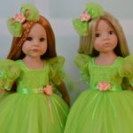 """Нарядные платьица для кукол Готц """"Зеленая полянка"""""""