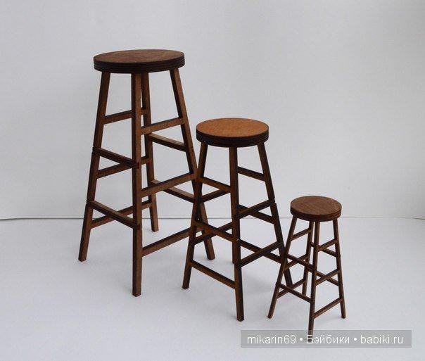 Барный табурет. Размеры 1/6: От пола до сидения 14,2 см, диаметр сиденья 5 см. Наб. деталей-300р. Размеры 1/4: От пола до сидения 21,3 см, диаметр сиденья 7,5 см.Наб. деталей -500р. Размеры 1/3: От пола до сидения 28 см, диаметр сиденья 10 см. Наб. деталей - 800р.
