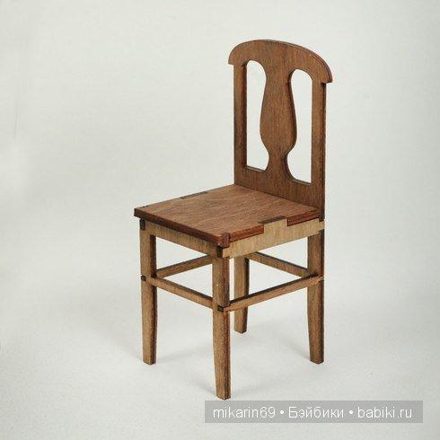 Стул №1 Размеры1/6: от пола до сиденья - 8,3 см, общая высота 15,3 см, сиденье 6х6,2см  Набор деталей - 300 р  Размер 1/4; от пола до сидедения 12,3 см, общая высота 22,9 см, сидение 9x9 см. Размер 1/3; от пола до сижения 16,4 см, общая высота 30,6 см, сидение 12x12 cm. Размер 70+: от пола до сидения 20 см, общая высота 38,5 см, сидение 14,1x15 см.