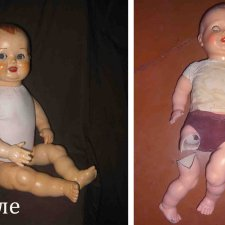 Процесс отмывания, реставрации и замены деталей кукол