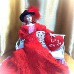 Красное платье для стройных девушек 35см