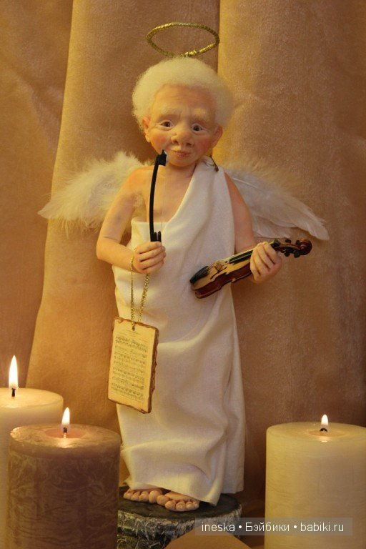 Пример куклы ангела с глазками ручной работы