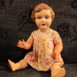 Редкая польская целлулоидная кукла Adam Szrayer, Шраерка, с рельефными волосами, высота 42 см