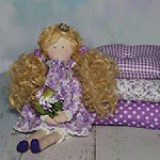 Принцесса на горошине, фиолетовая текстильная кукла