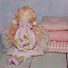 Принцесса на горошине, розовая. Кукла из ткани