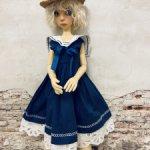 Платье  в морском  стиле для кукол формата SD