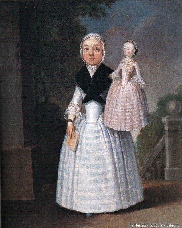 1767 ,английская живопись , портрет девочки с куклой