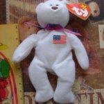 Медведик с флагом usa  для кукол 40 см +
