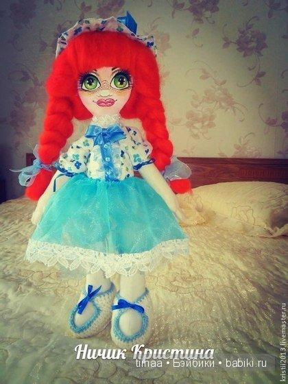 рыжая Зоя, волосы из шерсти для валяния, у куклы все пришито.