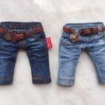 Новые джинсики на куколок 16 см ростом. Комбезик в подарок.