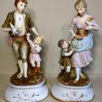 Большие парные статуэтки из бисквитного фарфора .Германия .