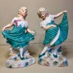 8000- на выходные !!!Парные статуэтки . Танцующие девочки . Heubach. Цена за пару .