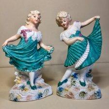 Парные статуэтки . Танцующие девочки . Heubach. Цена за пару .