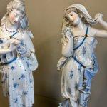 23 000- на выходные !!!!Парные фарфоровые статуэтки . Франция . Цена за пару. 31 см !