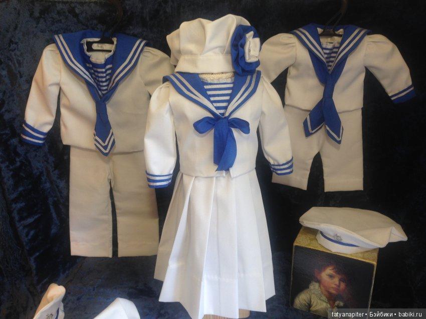 Морские костюмчики, хлопок, шелк, отделка шелком, подклад хлопковый