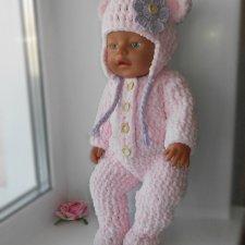 мастер класс по вязанию комплекта из плюшевой пряжи для кукол беби