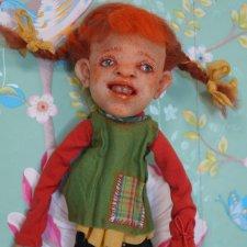 Pippi Langstrumpf by Elena Ovcharova Ooak Art Doll