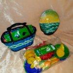 Советские игрушки , картина на срезе дерева. Винтаж.