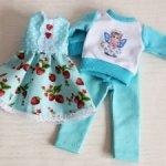 Комплект одежды для куклы Паола Рейна. Бирюзовый