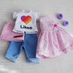 Летний набор одежды для Паолочек. 4 предмета: футболка + бриджи + юбка + платье.