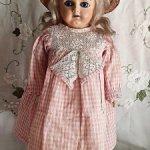 антикварная  кукла 1800-х годов папье-маше воск