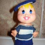 Кукла ГДР морячок растяпа в тельняшке резиновый