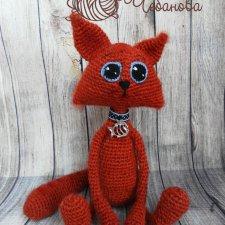Котик Рыжик. Игрушка вязанные крючком