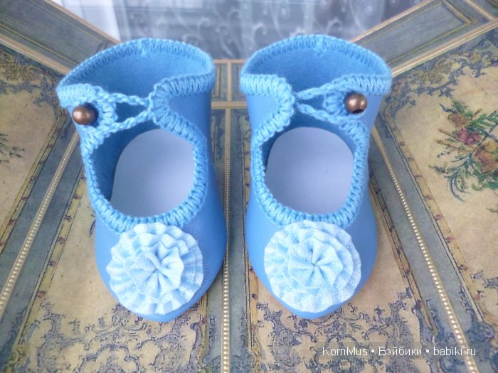 Туфли для антикварной куклы, длина 8,1 см