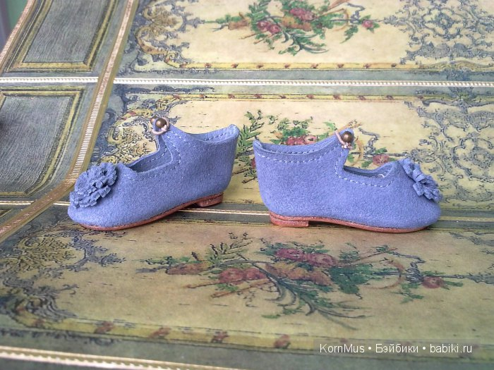 Маленькие кожаные туфли для куклы, длина 38 мм